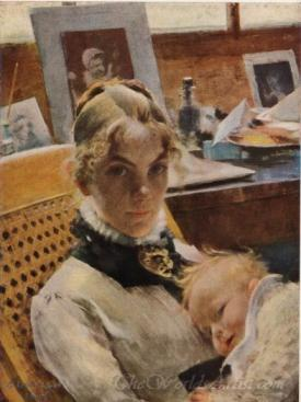 Studio Idyll The Artists Wife With The Daughter Suzanne Carl Larsson
