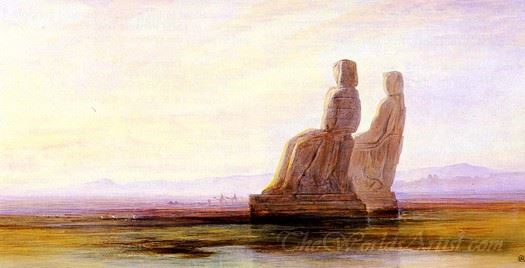 The Plain Of Thebes With Two Colossi Of Memnon
