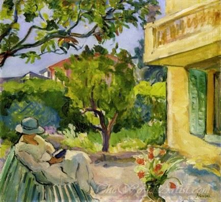 Le Cannet Madame Lebasque Reading In The Garden