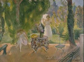 Two Women In A Garden In Summer