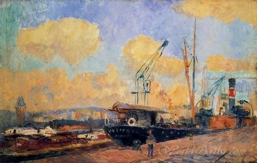 Steamers And Barges In The Port Of Rouen Sunset