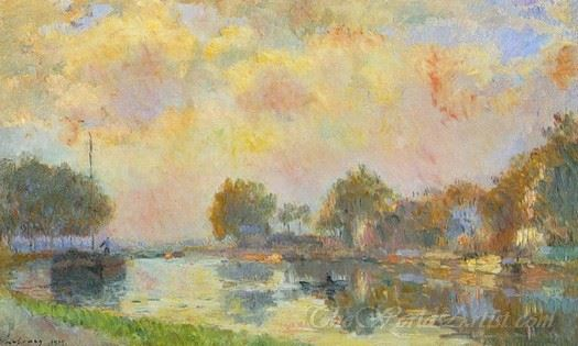 The Banks Of The Canal At Charenton Sunny Autumn