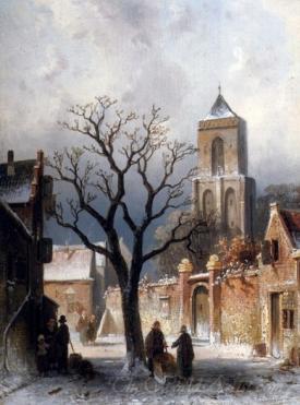 A Village Snow Scene