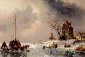 Figures Loading A Horse Drawn Cart On The Ice