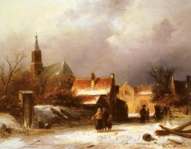 Figures On A Snow Covered Path With A Dutch Town Beyond