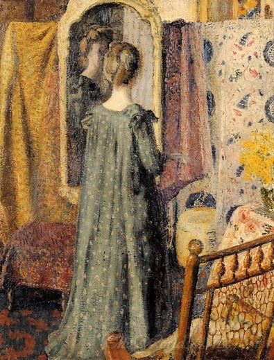 Woman Standing In Front Of The Mirror