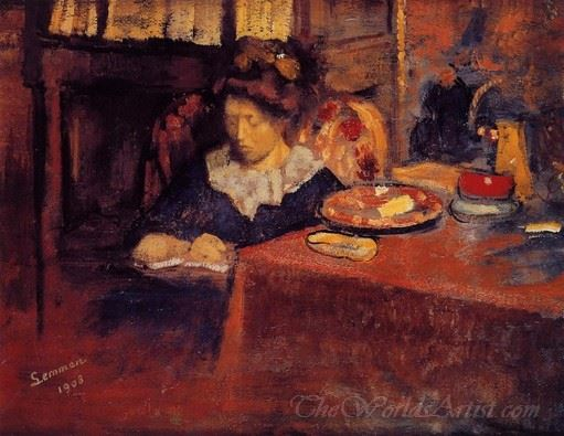 Young Woman Seated In An Interior