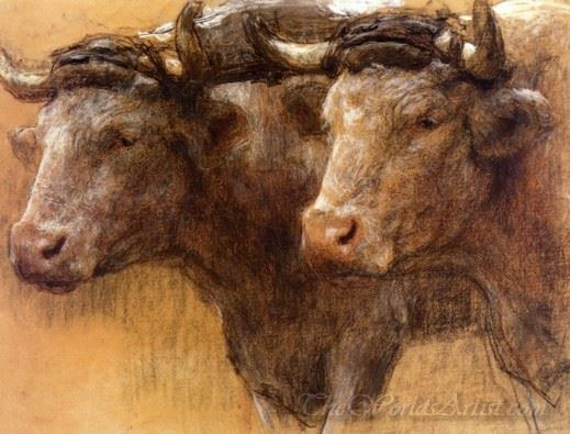 Heads Of Two Oxen Study For La Famille