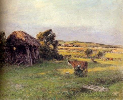 Landscape With A Peasant Woman Milking A Cow