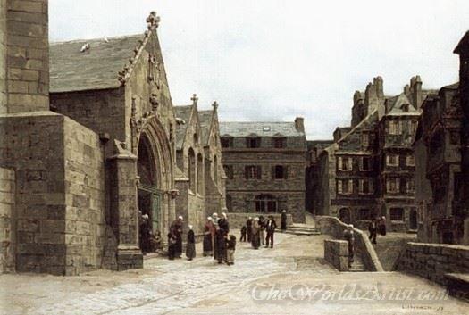 Leaving The Saint Melaine Church In Morlaix