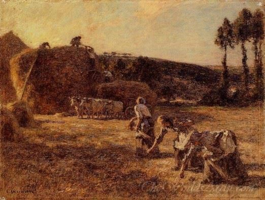 Gleaners In Front Of Old Grindstones