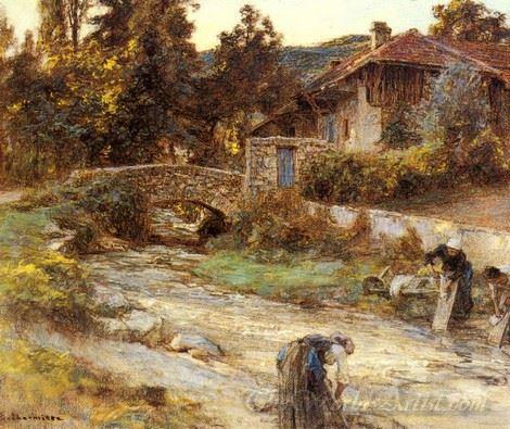 Washerwomen At A Stream