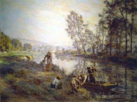 Figures By A Country Stream