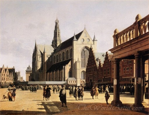 The Marketplace And Church At Haarlem