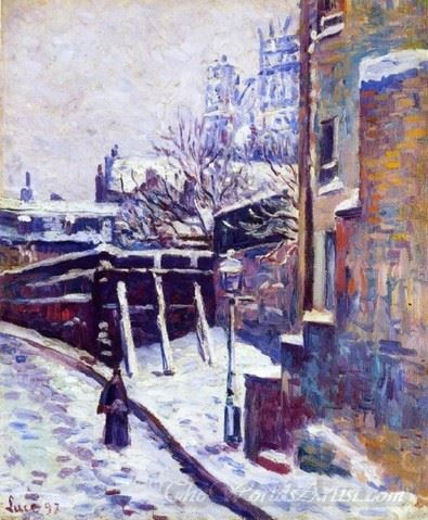 Montmartre Snow Covered Street