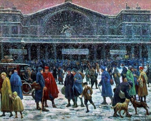 La Gare De L Est Sous La Neige  (The East Railway Station In The Snow)