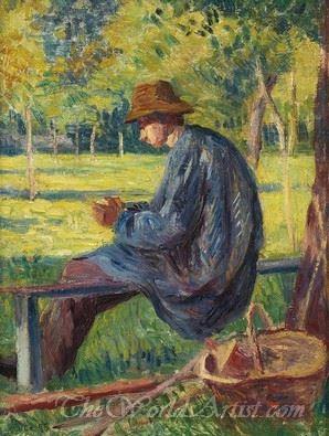 Ludovic Rodo Pissarro Dans Le Jardin De Son Pere A Eragny  (Ludovic Rodeo Pissarro In The Garden Of His Father At Eragny)