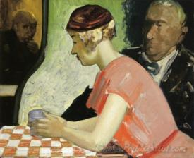 Cafe Scene A Study Of A Young Woman
