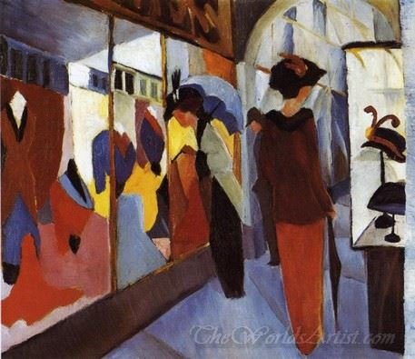 Two Women In Front Of The Hat Shop