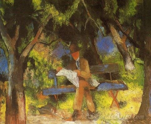 Man Reading In A Park