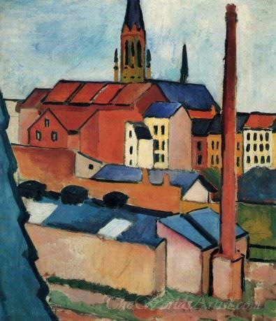 Marienkirche Mit Hausern Und Schornstein  (Marienkirche With Houses And Chimney)
