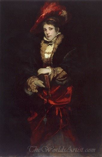 Portrait Of A Lady With Red Plumed Hat