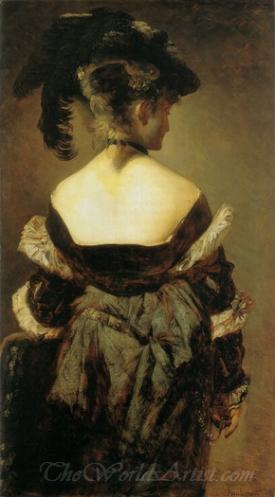 Dame Mit Federhut In Ruckenansicht  (Lady With Feather Hat In Back View)