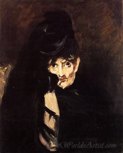 Portrait Of Berthe Morisot With Hat In Mourning