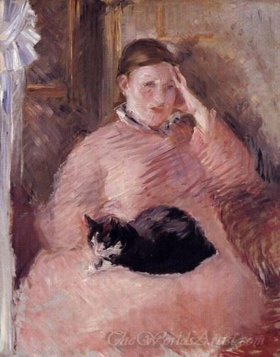 Woman With A Cat Portrait Of Madame Manet