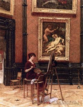 An Artist In The Louvre With Correggios Jupiter And Antiope