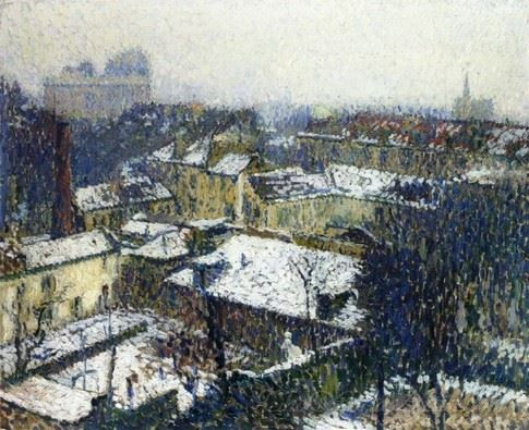 The Roofs Of Paris In The Snow View From The Studio