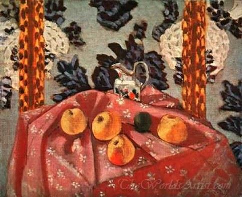 Still Life With Apples On A Pink Cloth