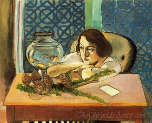 Woman Before A Fish Bowl