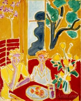 Two Girls In A Yellow And Red Interior