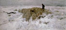 Flock Of Sheep With Shepherd In Snow