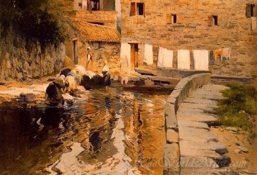 Lavanderas Junto A Un Molino  (Washerwomen Next To A Mill)