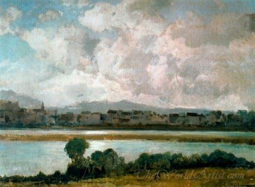 Paisaje Con Pueblo Y Rio  (Landscape With Village And River)