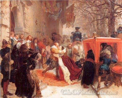 Gustav Adolph Greets His Wife Outside Hanau Castle