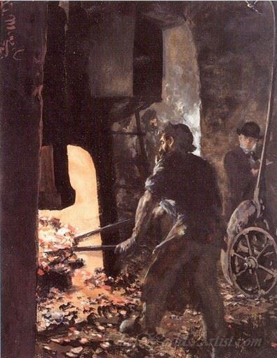 Self Portrait With Worker Near The Steam Hammer