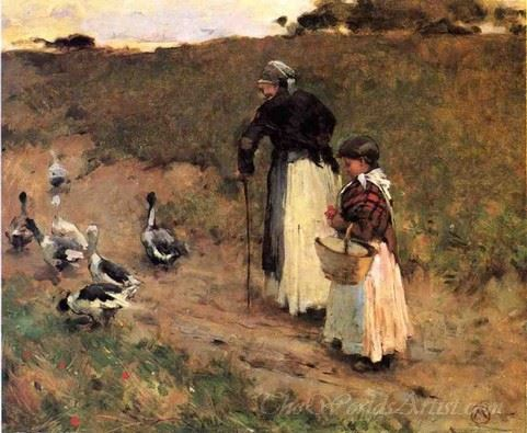Old Woman With Child And Geese