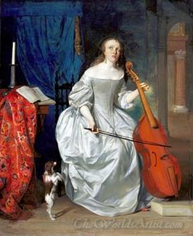 Woman Playing The Viola Da Gamba