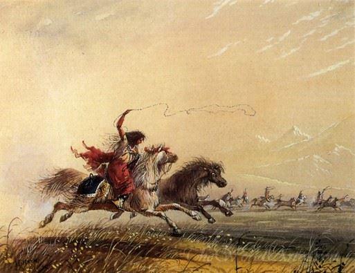 Shoshone Woman Throwing A Lasso