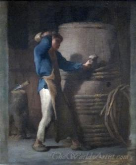 Cooper Tightening Staves On A Barrel