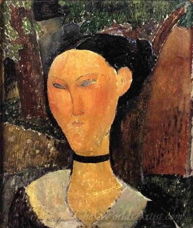Woman With Velvet Ribbon The Black Border