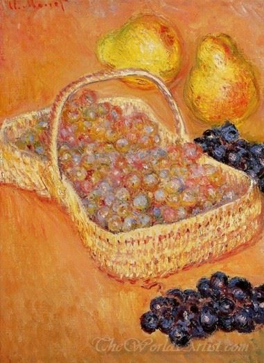 Basket Of Grapes Quinces And Pears