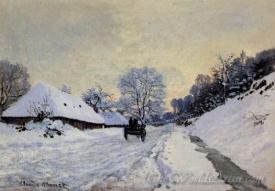 A Cart On The Snow Covered Road With Saint Simeon Farm