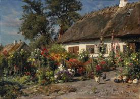 A Cottage Garden With Chickens