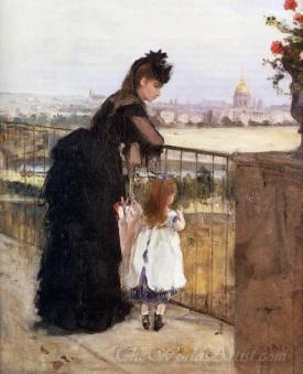 Woman And Child On A Balcony