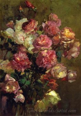 A Glass Vase Full Of Roses