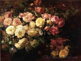 Still Life With White And Pink Roses